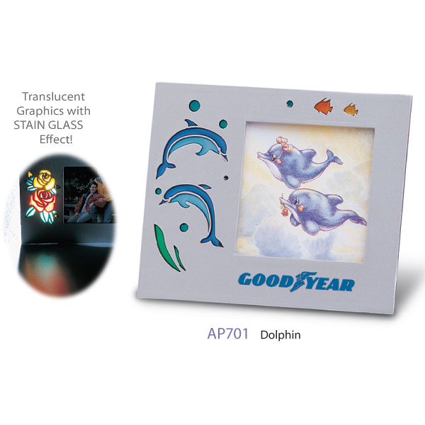 Picture Frame W Translucent Glass Dolphins SPECIAL PRICING