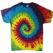 Reactive Rainbow Tie Dye On Hanes Tee Party Favor | Barmitzvah.com