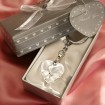 Chrome Key Chain with Crystal Heart Party Favor | Barmitzvah.com