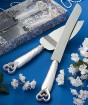 Interlocking Hearts Design Cake Knife/Server Set Party Favor | Barmitzvah.com