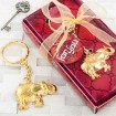 Gold Metal Good Luck Elephant Key Chain Party Favors  | Barmitzvah.com